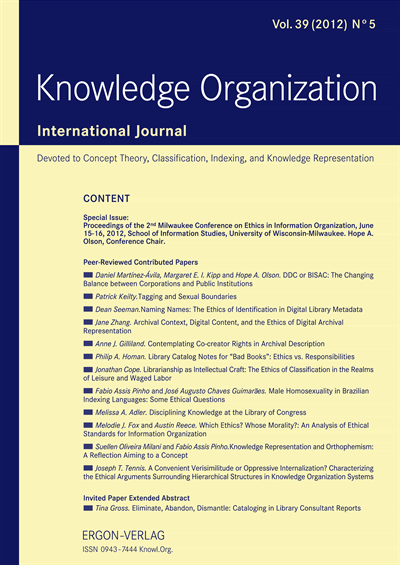 KO KNOWLEDGE ORGANIZATION  Cover
