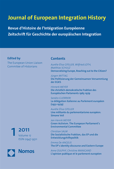 JEIH Journal of European Integration History Cover