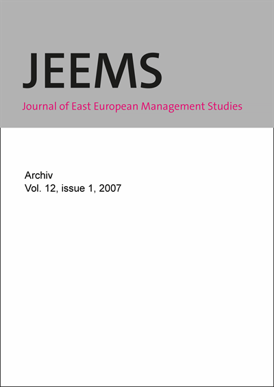 JEEMS Journal of East European Management Studies Cover