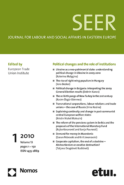 SEER Journal for Labour and Social Affairs in Eastern Europe Cover