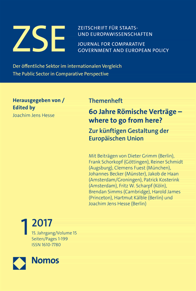 ZSE Zeitschrift für Staats- und Europawissenschaften | Journal for Comparative Government and European Policy Cover