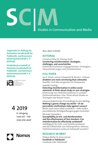 SCM Studies in Communication and Media Cover