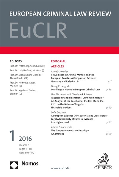 EuCLR European Criminal Law Review Cover