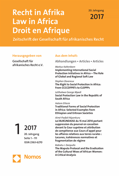RiA Recht in Afrika | Law in Africa | Droit en Afrique Cover